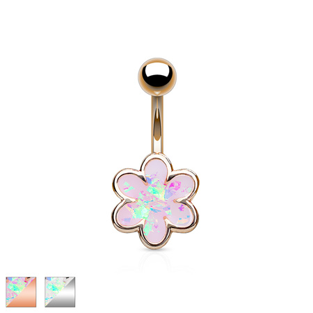 Opal Glitter 6 Petal Flower Navel Ring