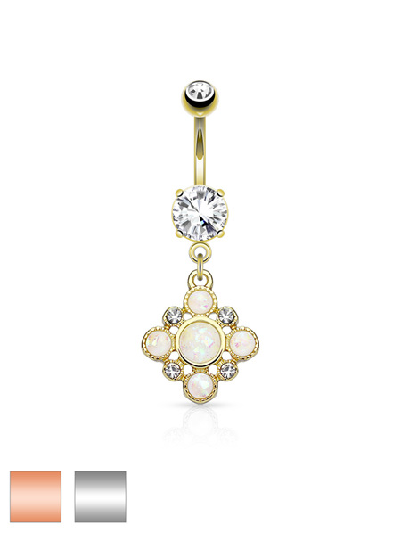 Opal Glitter and Crystal Set Dia Dangle  CZ Prong Set Navel Ring