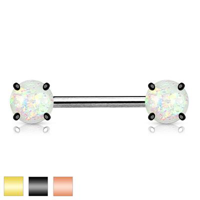 Opal Glitter Front Facing Prong Set Nipple Bar