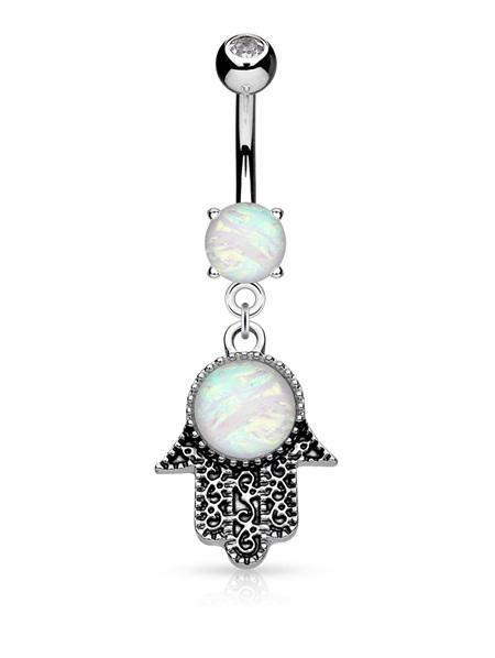 Opal Glitter Hamsa Dangle Navel Bar