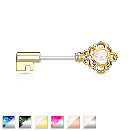 Opal Glitter Heart  Filigree Vintage Key Nipple Bar