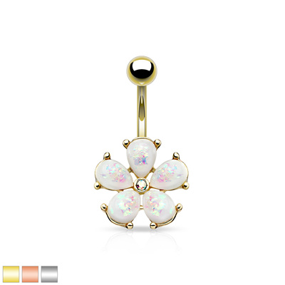 Opal Glitter Petals Flower Navel Ring