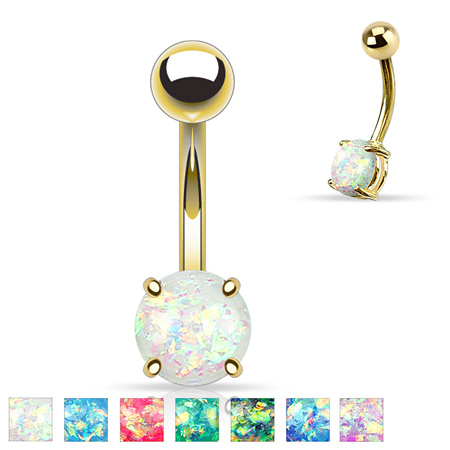 Opal Glitter Prong Set Gold / Rose Gold IP Navel Bar