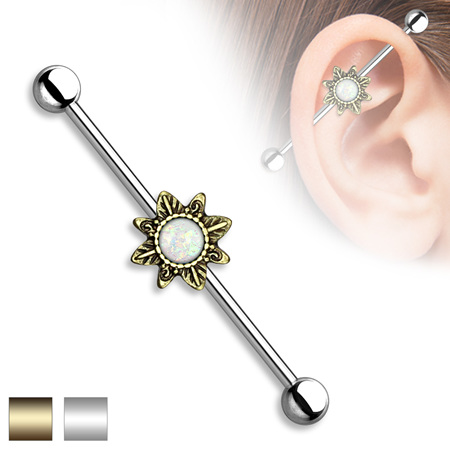 Opal Glitter Tribal Sunburst Industrial Barbell