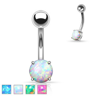 Opal Prong Set  Belly Navel Ring