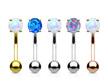 Opal Prong Set  Eyebrow Bar