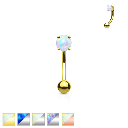 Opal Prong Set  Eyebrow Bar