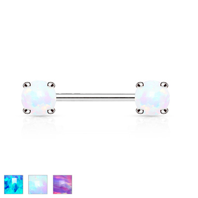 Opal Prong Set Front Facing Nipple Barbells