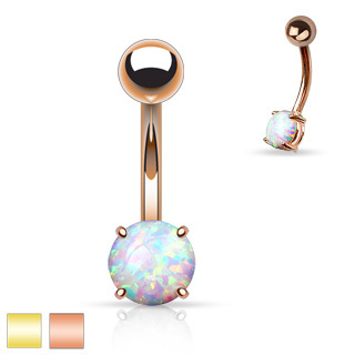 Opal Prong Set Plated Belly Navel Ring