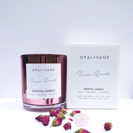 Opal & Sage Rose Quartz Candle