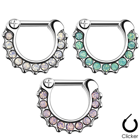 Opalites Paved Surgical Steel Septum Clicker