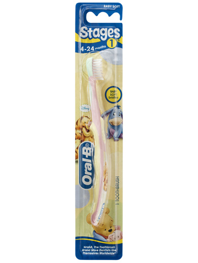 Oral-B Stages 1 Baby Pooh 4-24 Months Toothbrush Baby Soft