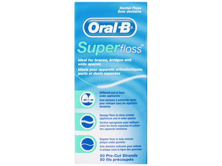 Oral-B Superfloss Dental Floss Pre-Cut Strands 50 pack