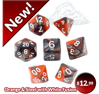 Orange and Steel Polyhedral Dice