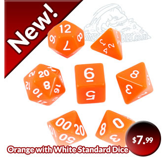 Orange with White Standard Polyhedral Dice Games and Hobbies New Zealand NZ