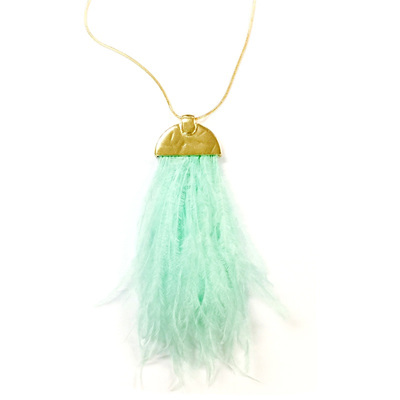 Ostrich Feather Necklace - Mint