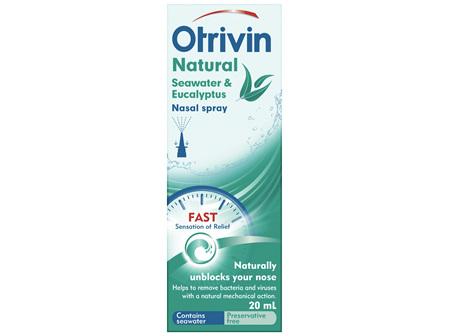 Otrivin Natural Nasal Spray Seawater and Eucalyptus 20 mL