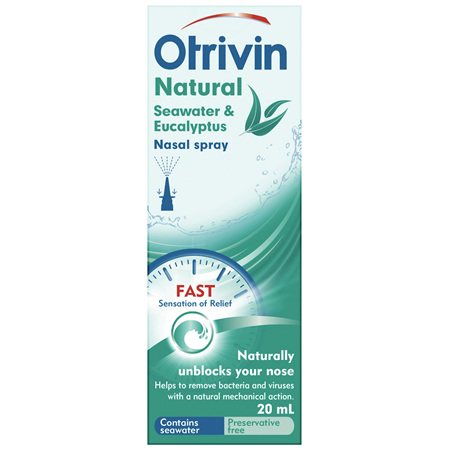 Otrivin Natural Nasal Spray with Seawater and Eucalyptus, for Blocked Nose, 20mL