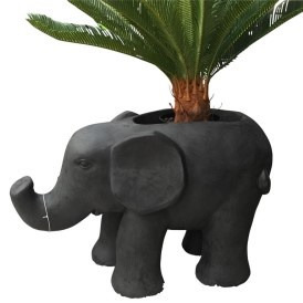 Outdoor Stone Look Elephant w/ Hollow Back - Charcoal