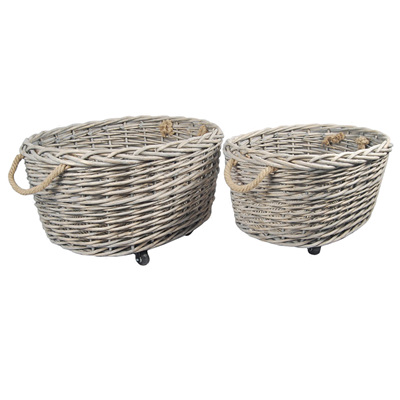 Oval Willow Basket on Wheels