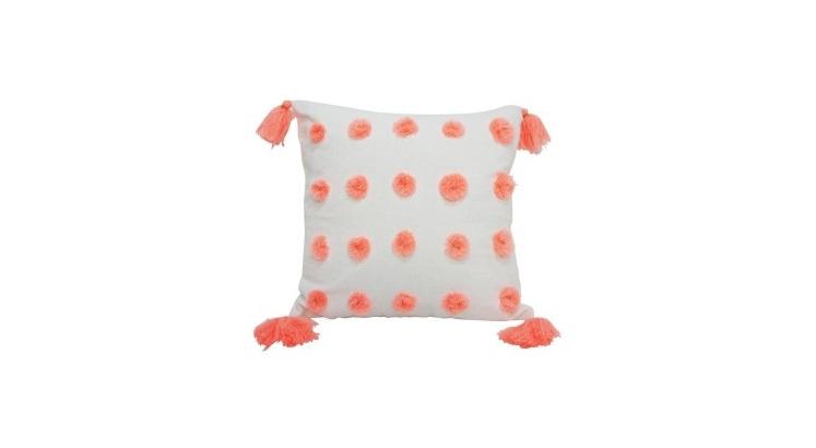 Pache Cushion - Coral & White 45x45cm