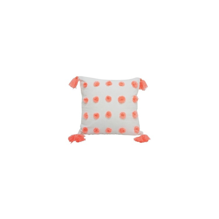 Pache Cushion - Coral & White 45x45cm