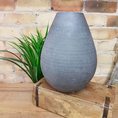 Pacho Textured Ceramic Vase - Black - Squat