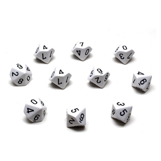 10 White with Black Ten Sided Dice