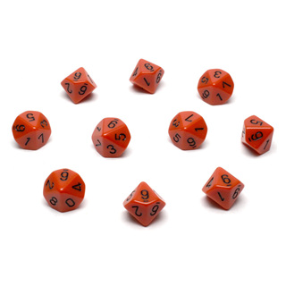 10 Orange with Black Ten Sided Dice