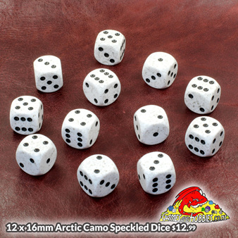 Pack of 12 16mm Arctic Camo Speckled Six Sided Dice Games and Hobbies NZ