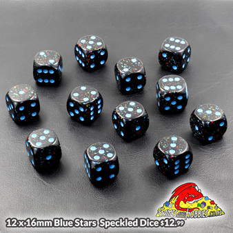 Pack of 12 16mm Blue Stars Speckled Six Sided Dice Games and Hobbies New Zealand