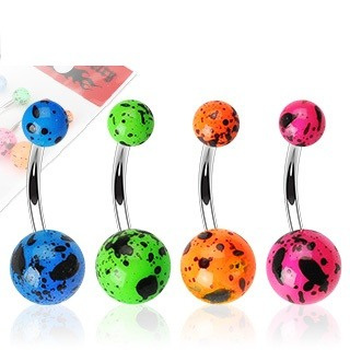 Paint Splatter Navel Bar 14g