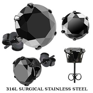 Pair of Black IP Plated Ear Stud w/ Black CZ