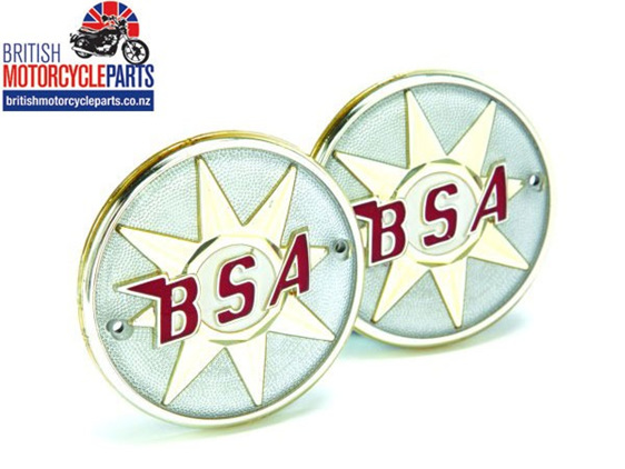Pair of BSA Round plastic tank badges to fit Bantams, early B40 and export A65
