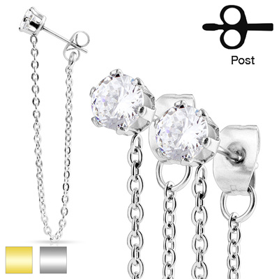 Pair of Chain Drops Prong Set CZ Ear Stud