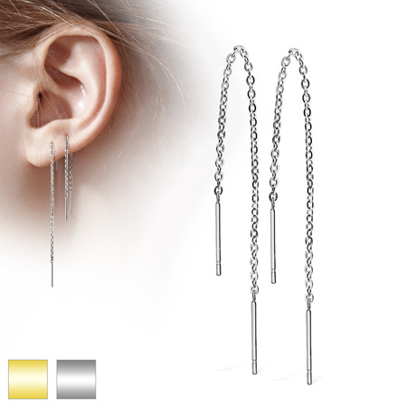 Pair of Chained Free Falling Two Bars Earring