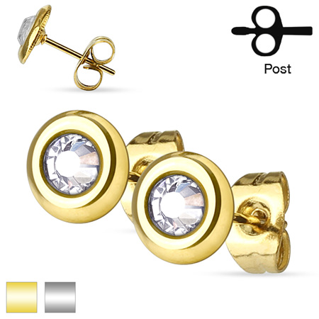 Pair of Clear Crystal Set Disc Ear Studs