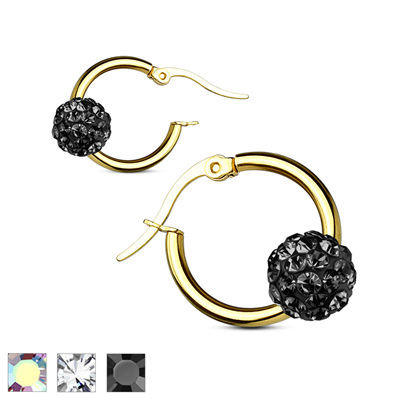 Pair of Colored Crystal Ball Gold IPHoop Earring