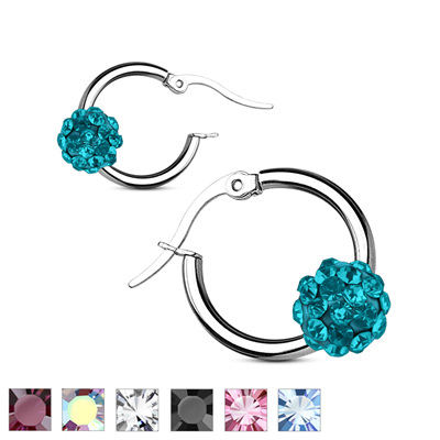 Pair of Colored Crystal Ball Hoop Earrings