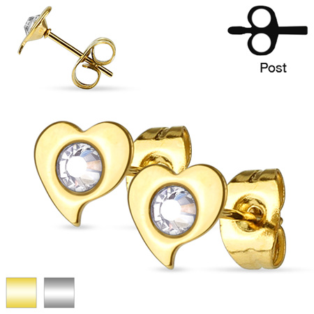 Pair of Crystal Set Heart  Ear Studs