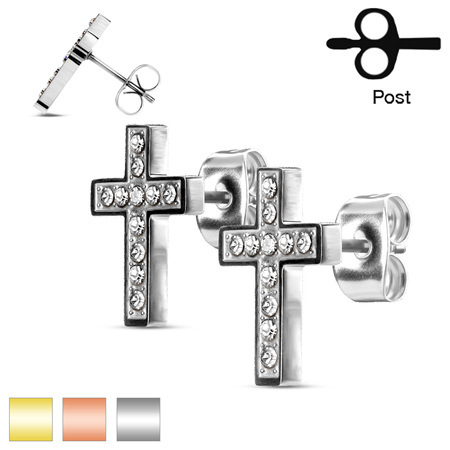 Pair of CZ Paved Cross Stud Earrings