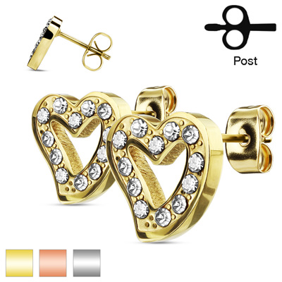 Pair of CZ Paved Hollow Heart Stud Earrings