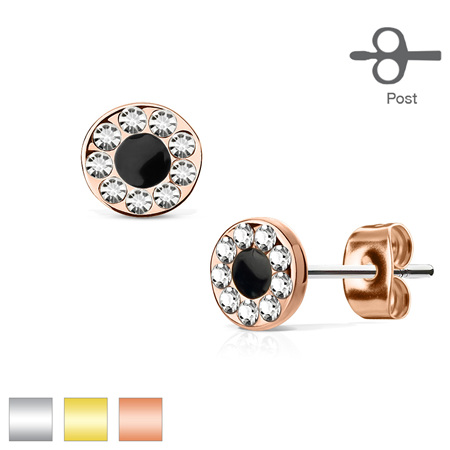 Pair of  CZ Round w/ Black Center Earrings