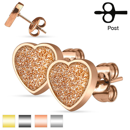 Pair of  Heart Sand Glitter Stud Earrings