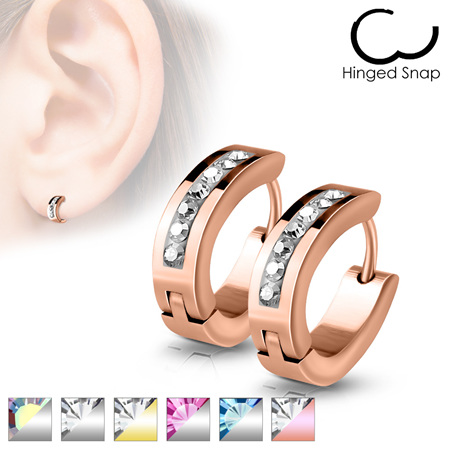 Pair of Lined Set Crystals Front Oval Shape Stainless Steel Hoop/Huggie Earrings