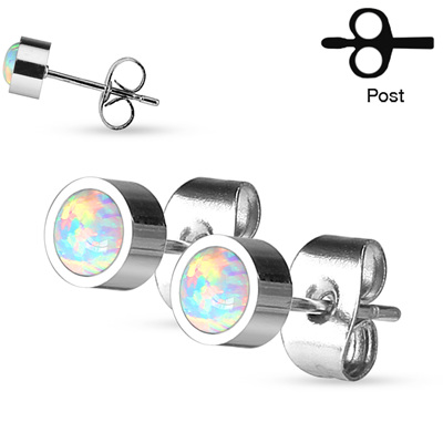 Pair of Round Opal Bezel Set Stud Earrings