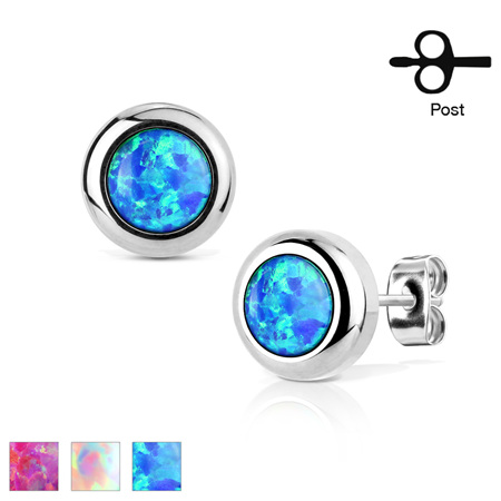 Pair of Stud Earrings w/ Bezeled Opal
