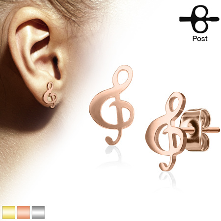 Pairof  Music Clef  Stainless Steel Earrings