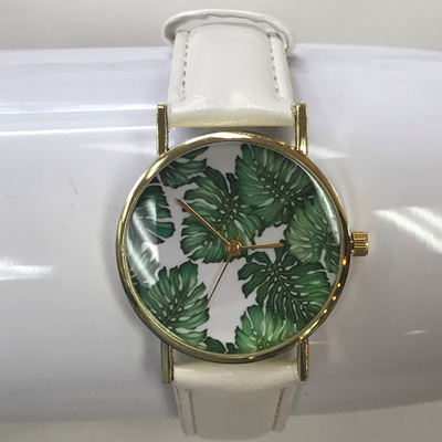 Palm Leaf Watch - White Strap