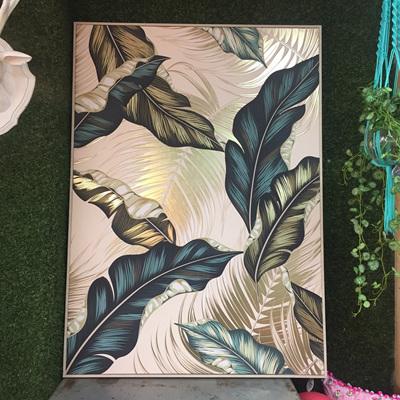Palm Leaves Canvas W Gold Foil Framed